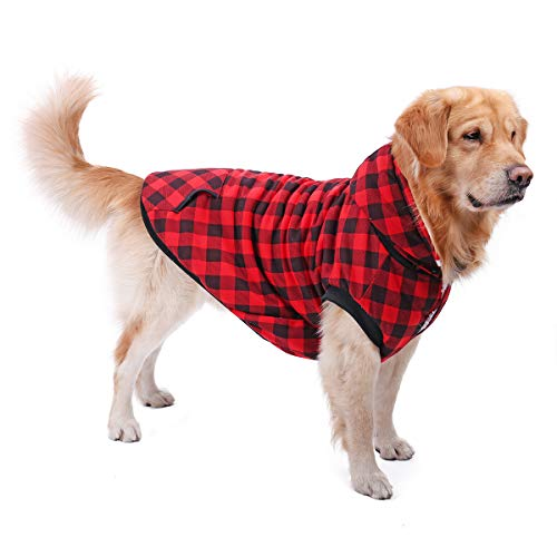 PAWZ Road Hund Jacke Kleidung Mantel Kapuzenpullover Haustier Winterkleidung Herbst Warme Gemütliche Weste für Kleine Mittel Große Hunde Upgrade-Version Rot S -