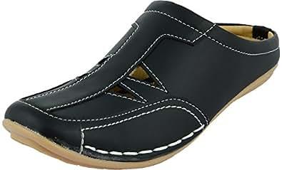 Manav Unisex Black Synthetic Sandals (Mv1581_Black, Size: 10 Uk)