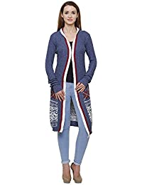 MansiCollections Blue Longline Cardigan for Women
