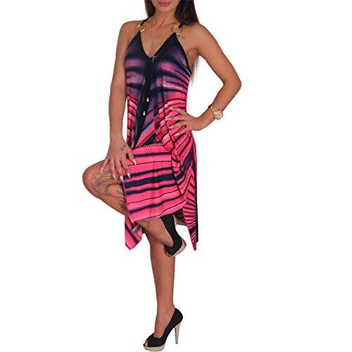 Streifen Sommer Kleid Metall Ring Damen Strandkleid Tuchkleid Tuch 1101 Pink