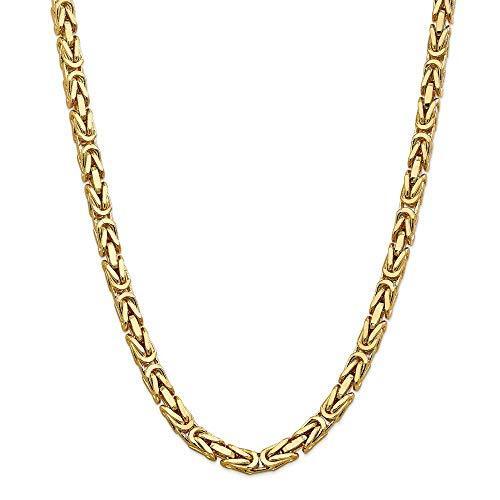Königskette Halskette 14ct 6,50 mm - 60,96 cm - Karabinerhaken - JewelryWeb