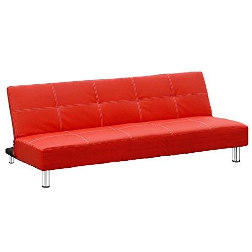 Eglemtek havana divano letto 2 posti reclinabile in ecopelle con gambe in metallo cromato, 176 x 99 x 40 cm - per hotel casa ufficio soggiorno salotto studio - disponibile in 6 colori (rosso)