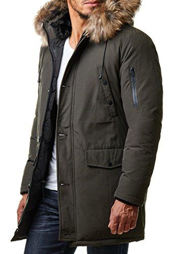 Burocs Herren Parka Winter-Jacke Kunst-Fell Imitat Kapuze Schwarz Khaki BR1625, Größe:XXL, Farbe:Khaki
