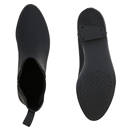 Gummistiefel Damen Stiefeletten Chelsea Boots Regen Schuhe Schwarz
