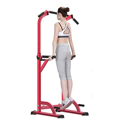 Maybesky Fitness Parallettes Dip Station Klimmzugstange Power Tower Pull Push Home Gym Fitness Core Gymnastik Calisthenics Bodyweight für Herren, Stahl, Rose, 78.5 * 70 * 156~205CM