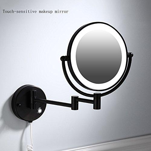 JL-Q 3X Vergrößerung Wand-Make-Up-Spiegel Mit LED-Licht, Schwarz Bronze 8-Zoll-Doppelseitige Drehspiegel, Knopf Berühren Zwei Optionen,Roundtouch