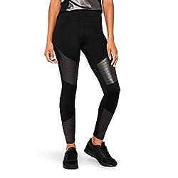 AURIQUE Mallas de Entrenamiento Tiro Alto con Paneles en Contraste Mujer, Negro (Black Foil), W36 (Talla del fabricante: Small)