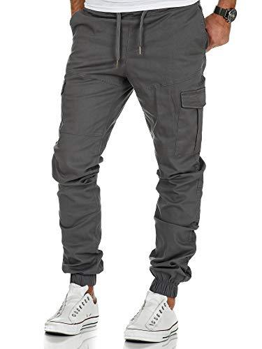 Amaci&Sons Herren Stretch Jogger Cargo Chino Jeans Hose 7006 Dunkelgrau W32