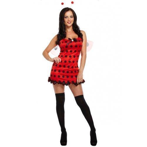 Damen Sexy Marienkäfer Kostüm Kleid Outfit mit Wings & Warnung bopper-hut UK (Uk Sexy Outfits)