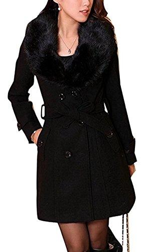 Mujer Abrigo lana de invierno de las mujeres con de piel sintética Parka otoño Chaqueta abrigo elegante...