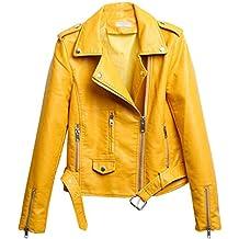 Amazon.es: chaqueta moto cuero - Amarillo