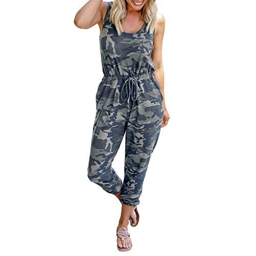 Ansenesna Camouflage Jumpsuit Damen Lang mit Kordel Elegant Hosenanzug Frauen Ärmellos Casual Overall (Baby Rücken Auf Kostüm Mit)