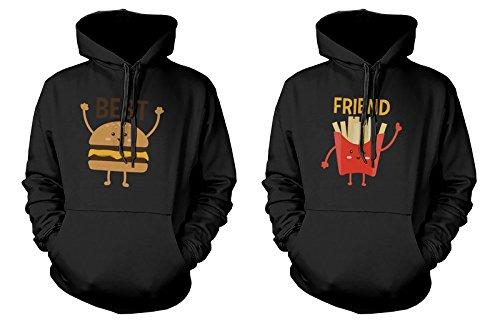Hamburguesa y patatas fritas Sudaderas con capucha Mejor Amigo BFF Matching sudadera con capucha Sudaderas -  negro -  izquierda-Medium / derecho-Small