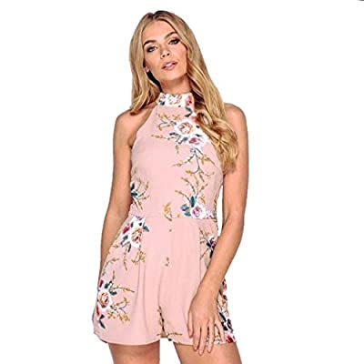 2018 Summer Sexy Shorts Jumpsuits, Women V-Neck Fashion High Neck Floral Mini Beach Holiday Casual Party Ladies Playsuits Rompers by GreatestPAK