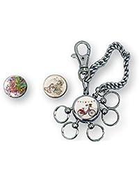 Llavero con cadena metal 20 cm, multillave, 5 enganches intercambiables, con mosquetón,