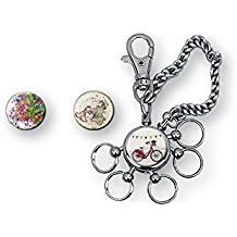 Llavero con cadena metal 20 cm, multillave, 5 enganches intercambiables, con mosquetón, 3 diseños diferentes. 1 unidad.