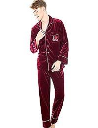 Hombre Pijama de 2 Piezas Conjunto de Pijama para Hombre Suave y Cómodo