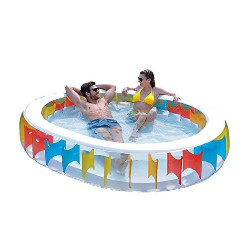 TXDY Aufblasbarer Swimmingpool, große aufblasbare Familie Planschbecken Pool Garten Schwimmen Paddeln Familie Outdoor Aufblasbare Sommer für Kinder Erwachsene - 250x208x50cm