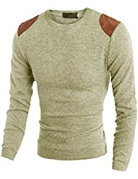 Sourcingmap Men Crew Neck Long Sleeves Slim Fit Casual Knit Shirt