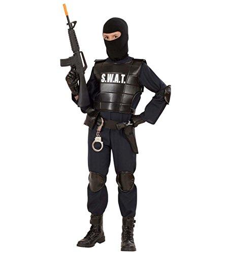 üm S.W.A.T AGENT Polizei 7 TLG. SEK Agent, Kostüm Kind:(164 cm / 14-16 Years) (Kugelsicheres Kostüm)