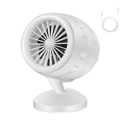 SUN EAGLE Mini-Ventilatortank Doppia Foglia Turbo Creativo USB-Ventilator Dual-Speed-Steuerung Für Den Dormitorio Dell'ufficio Scolastico (Farbe: Nero),White