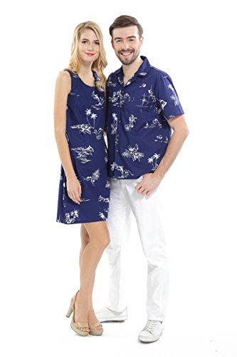 Paar passende Hawaiian Luau Cruise Outfit Hemd Vintage Kleid Klassik Blau Herren L Damen S -