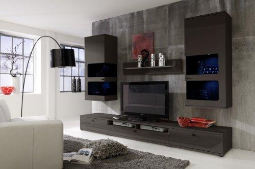 Wohnwand Anbauwand grau, Fronten Hochglanz, optional LED-Beleuchtung, Beleuchtung:mit Beleuchtung