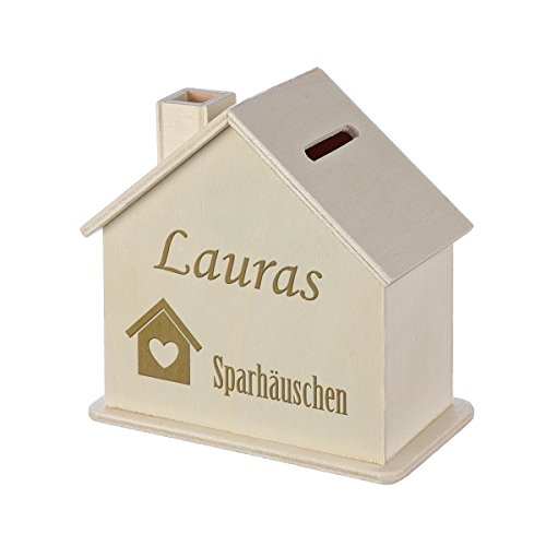 Spardose Haus mit Gravur - Sparbüchse aus Holz - Geschenk für jeden Anlass - Motiv Häuschen mit Herz
