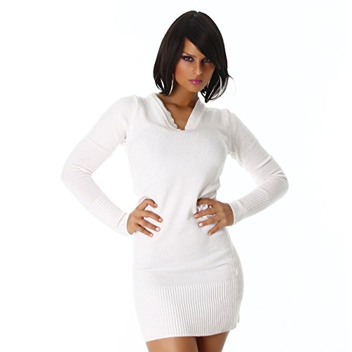 Damen Longpulli Pullover Minikleid mit V-Auschnitt Onesize trendiges Design Creme