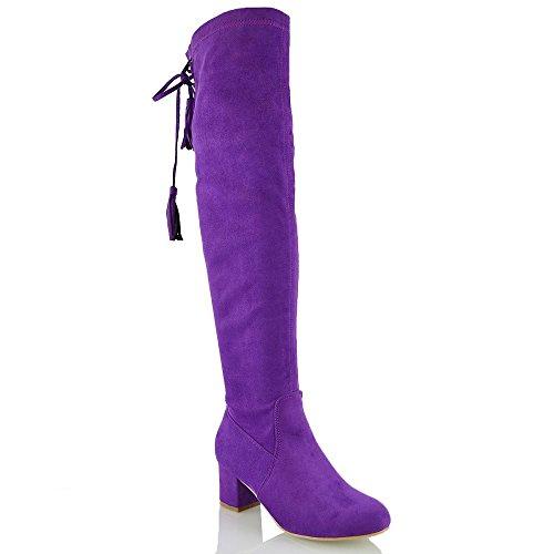 ESSEX GLAM Damen Lila Wildlederimitat Schenkelhoch StretchLangschaft Stretch Blockabsatz Stiefel EU 40 (Stiefeln Lila)