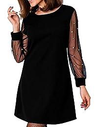2789c67c402 Longra Robe Cocktail Femme Col Rond Robe Femme Manches Longues Robe Femme  Chic Soirée Robe Femme
