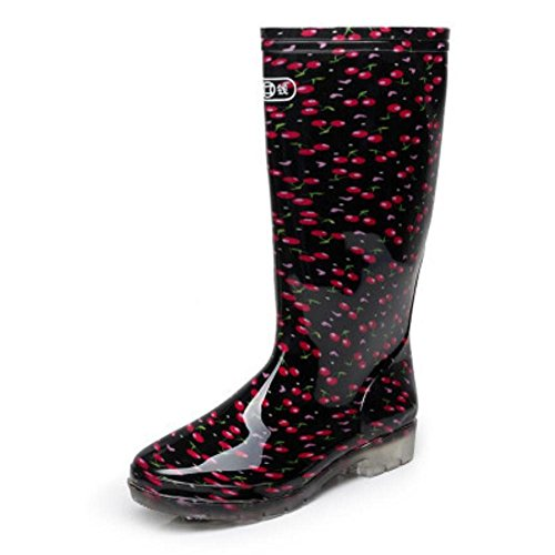 SIHUINIANHUA Frühling und Herbst Damen Regen Stiefel/in den Hohen Rohr Regen Stiefel/Überschuhe Schuhe/Autowaschwasser Schuhe, 2, 37