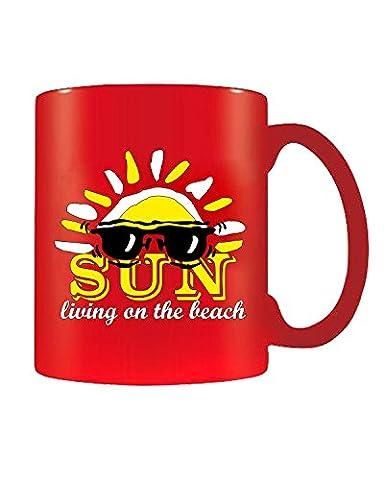 Cotton Island - Tasse Mug 11oz T0312 sun living on the beach vintage, Taille 11oz