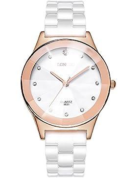 Luxus Exquisit Strasssteine Keramik Uhrenarmband Paaruhr Armbanduhren für Herren Damen, Roségold-Groß