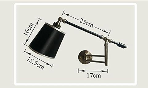 TXDZS vintage de nuance légère industrielle moderne loft métal bougeoir lampe de mur Lampe de fer swing arm b