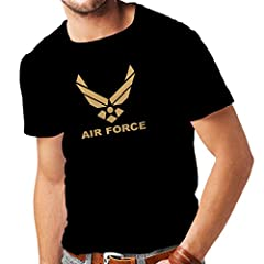 Idea Regalo - lepni.me Maglietta da Uomo United States Air Force (USAF) - U. S. Army, USA Armed Forces (Large Nero Oro)