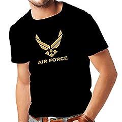 Idea Regalo - Maglietta da Uomo United States Air Force (USAF) - U. S. Army, USA Armed Forces (Large Nero Oro)