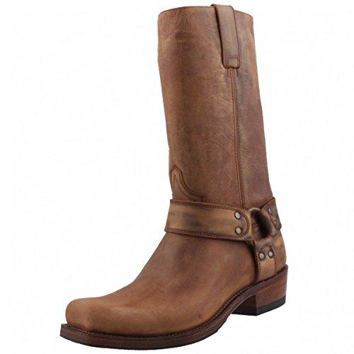 Braun Rindsleder Western-boot (Sendra Biker Boots 8833 braun/antik, Schuhgröße:EUR 45)