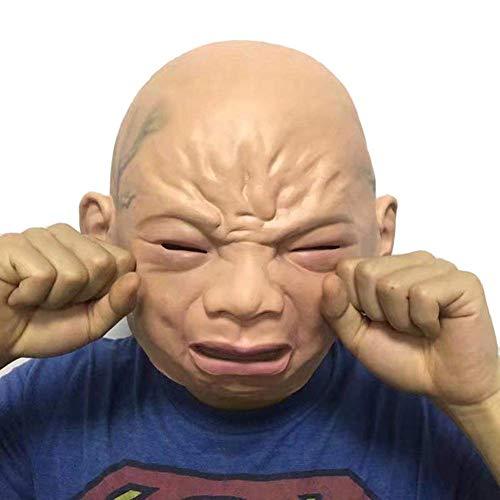 Metyere Realistische Gruselig Weinendes Baby Maske Latex Voller Kopf Schrecklich Masken für Spukhaus Halloween Party Cosplay Kostüm Requisiten