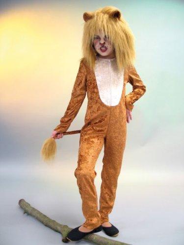 Kid Löwen Kostüm - Karneval Kinder Kostüm Löwe Overall Raubtier Löwenkostüm Gr. 128