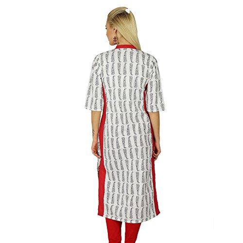 Bimba Tunique imprimée en coton à manches 3/4 personnalisé Kurti formelle Top Blanc