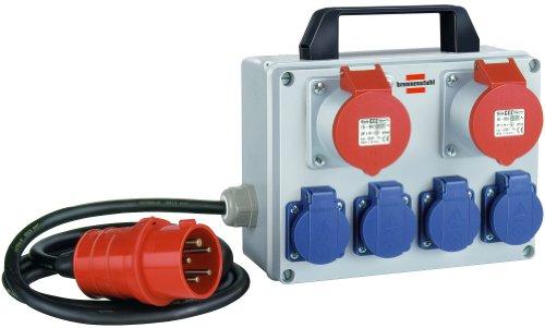 Kompakter Kleinstromverteiler BKV 2/4 T IP44 / Baustromverteiler mit Tragegriff (ca. 2m Kabel, für ständigen Einsatz im Außenbereich IP44)
