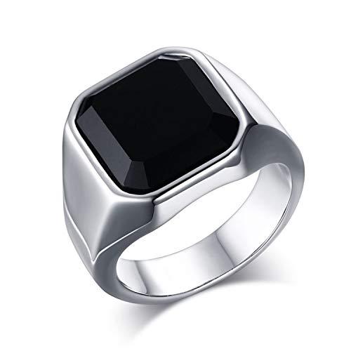OIDEA Edelstahl Ringe für Herren Damen, Vintage Achat Stein Ringe Edelstahlring Herrenring Ringgrößen 65 (20.7)