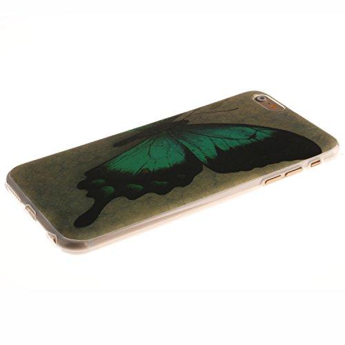 Coque iPhone 5S, Coque iPhone 5 Housse Etui, iPhone 5SE Silicone Transparent Case TPU Cover, BONROY® TPU Silicone Ultra Mince Souple motifs peints Bumper Cas Case Cover Coque Couverture Etui [absorban papillon