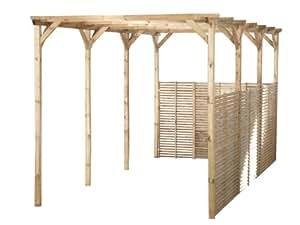 Carport en Bois 300x612 H250 sans couverture 8 poteaux 9x9