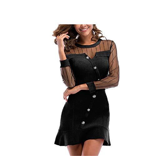 e Gaze Frauen Sexy Kleid Fancy Strickkleid für Mädchen (Farbe : Schwarz, Größe : M) ()