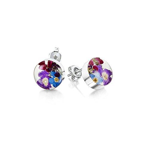 Shrieking Violet: Ohrstecker - blaue & lila Vergissmeinnicht - rund - 925 Sterling Silber (Blume Harz Ringe)