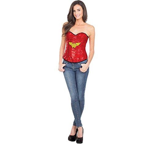 League Kostüm Justice - Rubie's Justice League Damen Kostüm Wonder Woman Pailletten Corsage Gr.L