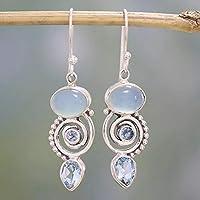 beiguoxia Gorgeous Hook Earrings Vintage Oval/Pear Faux Chalcedony Topaz Spiral Dangle Drop Hook Earrings Jewelry - Silver Earrings