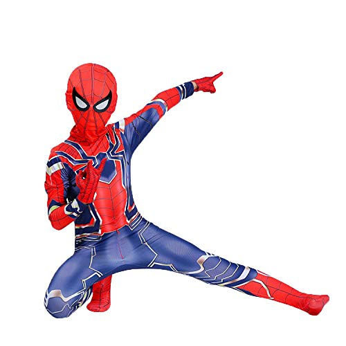 YIWANGO Kids Superheld Spiderman Kostüme,Offizielles Avengers Iron Spider Kinder Action Dress Ups Und Zubehör Party Cosplay Kostüm,Red-160CM